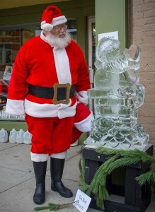 Santa sees a frozen version of himself.